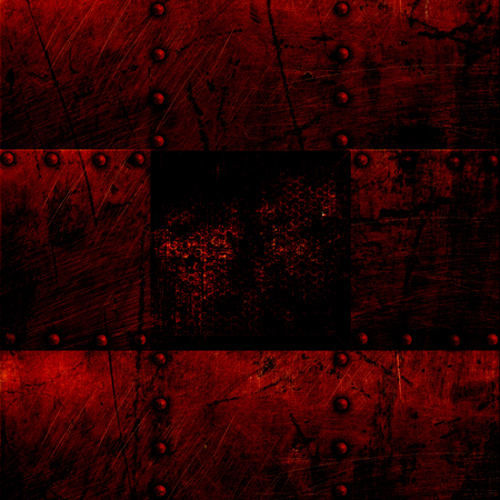 black borders: grunge metal plate and grid window. 3d illustration. background and texture.