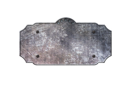 old sign: old metal sign board on isolated white background. western style. 3d illustration. Stock Photo