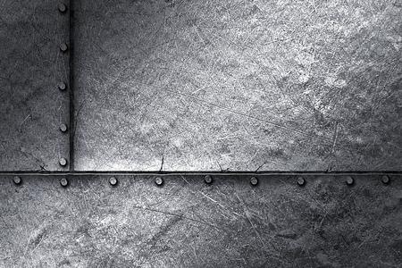 rivet: grunge metal background. rivet on metal plate. material design 3d illustration.
