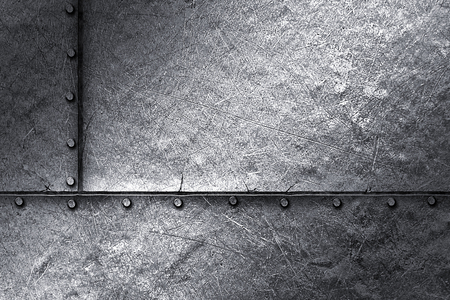 metallic texture: grunge metal background. rivet on metal plate. material design 3d illustration.