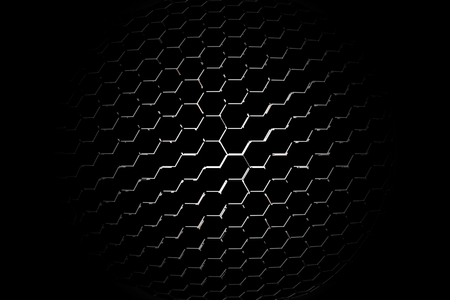 chrome: part of microphone or loudspeaker. black and chrome curve metallic mesh. background and texture. Stock Photo