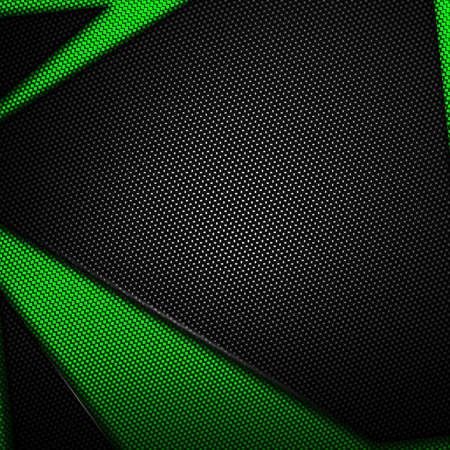 shiny metal background: green and black carbon fiber background. 3d illustration material design. racing style. Stock Photo