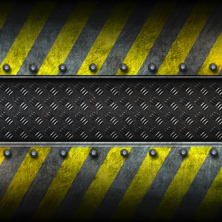 diamond plate: grunge metal and diamond plate with yellow painted. safety zone. 3d illustration. background and texture. Stock Photo