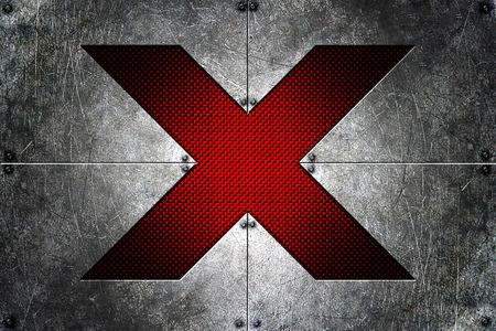 grunge metal background. rivet on metal plate and red carbon fiber. alphabet x on the middle. material design 3d illustration.