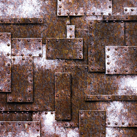 rusty fix wall. grunge metal background. 3d illustration.