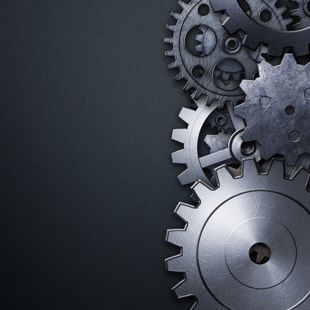 3d carbon: gear on the blue carbon metallic wall. 3d illustration. material design.