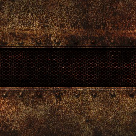 metal mesh: grunge metal and rusty mesh. 3d illustration. background and texture. Stock Photo