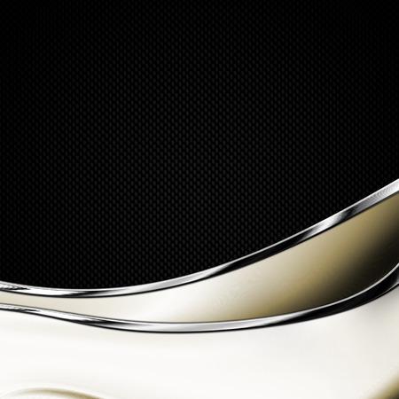 curve: black carbon fiber and curve chromium frame. metal background. material design. 3d illustration. Stock Photo