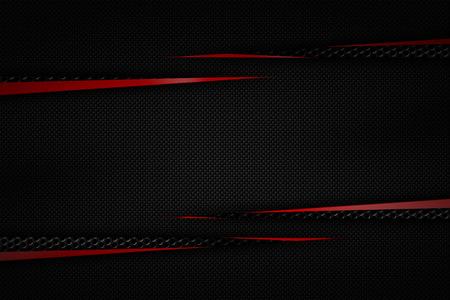 黒のグリルの背景にグレーと赤の炭素繊維フレーム。金属の背景のテクスチャ。3 d イラスト素材デザイン。