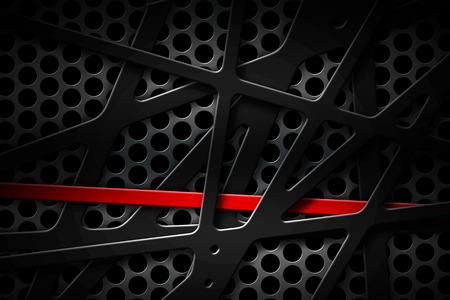 黒のグリルの背景の灰色と赤の金属製のフレーム。金属の背景のテクスチャ。3 d イラスト素材デザイン。 写真素材