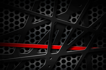 gray and red metal frame on black grille background. metal background and texture. 3d illustration material design.