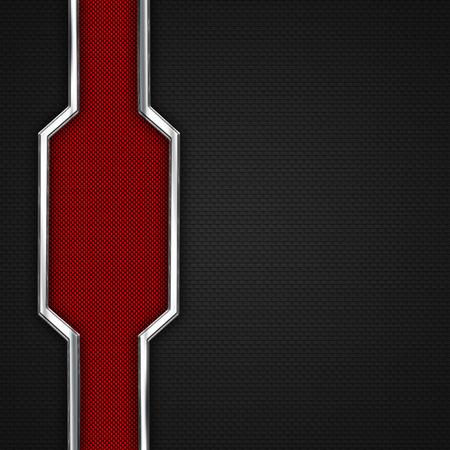 3d carbon: red, black carbon fiber and chromium frame. metal background. material design. 3d illustration.
