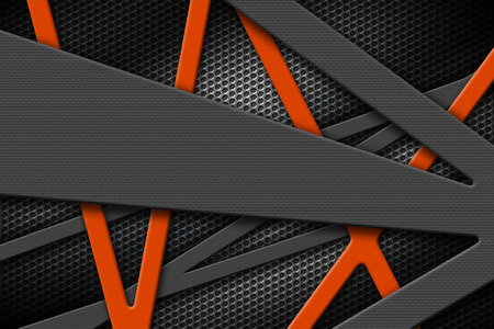 steel construction: gray and orange metal frame on black grille background. metal background and texture. 3d illustration material design. Stock Photo