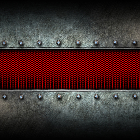 steel plate: grunge metal and red mesh. 3d illustration. background and texture. Stock Photo
