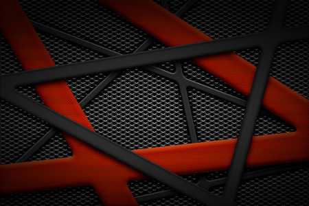 steel grille: gray and orange carbon fiber frame on black grille background. metal background and texture. 3d illustration material design. Stock Photo