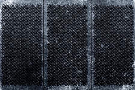 rivet: grunge metal background. rivet on black decay grille and metal plate. material design 3d illustration.