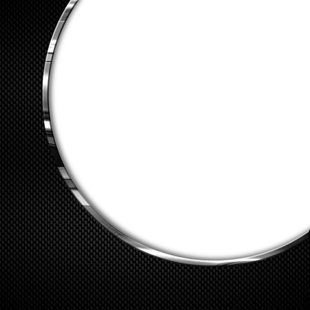 chromium: black and white carbon fiber and curve chromium frame. metal background. material design. 3d illustration.