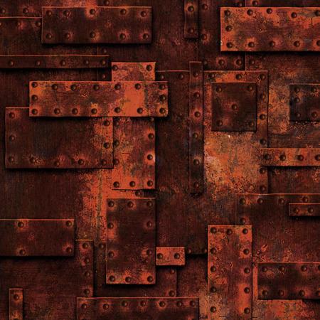 metallic texture: red rusty fix wall. grunge metal background. 3d illustration.