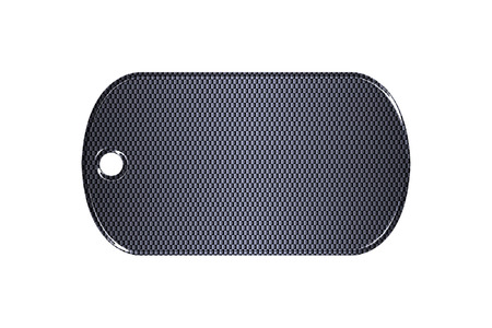 dog tag: black carbon fiber dog tag on isolated white background. 3d illustration. Stock Photo