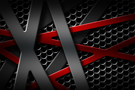 grille: gray and red metal frame on black grille background. metal background and texture. 3d illustration material design.