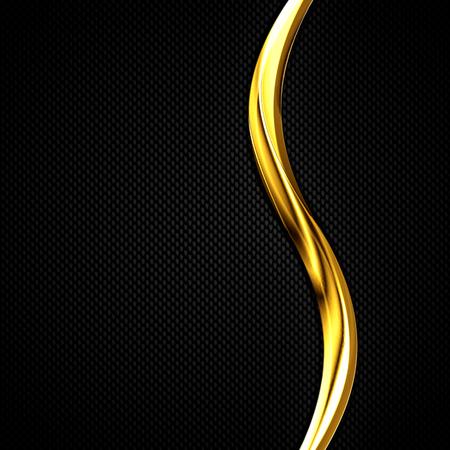 chromium: black carbon fiber and gold curve chromium frame. metal background. material design. 3d illustration. Stock Photo