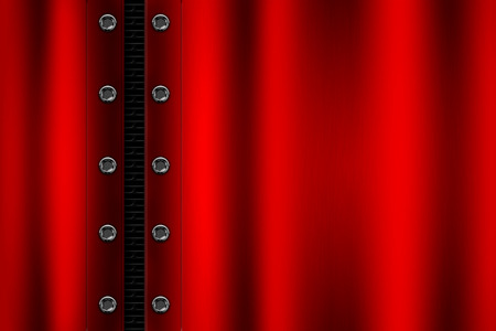 red metal background with rivet on gray metallic mesh. background and texture 3d illustration. Stock Photo