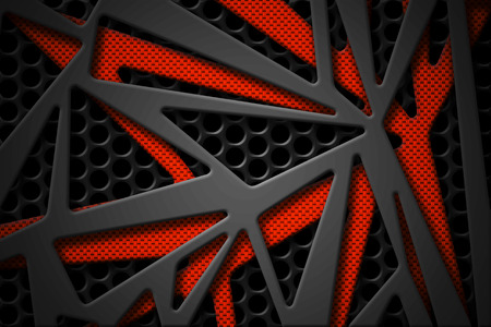 gray and orange carbon fiber frame on black mesh carbon background. metal background and texture. 3d illustration material design. Zdjęcie Seryjne