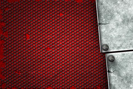 grunge metal background. metal plate on black grille and red plate with rivet. material design 3d illustration. Banque d'images