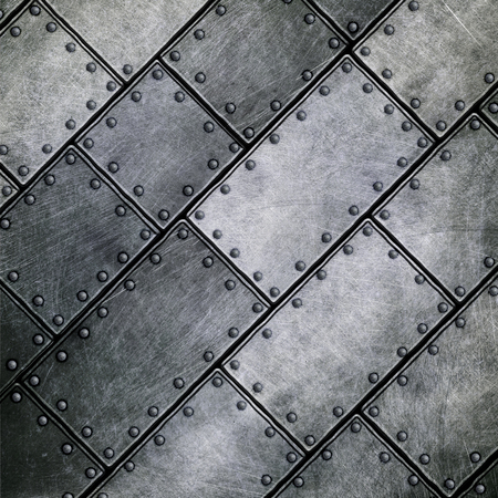 plate: grunge metal plate with pin 3d illustration. background and texture.