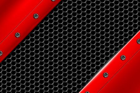 赤の金属背景灰色の金属メッシュのリベットに。背景やテクスチャの 3 d 図です。