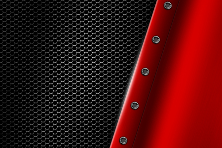 red metal: red metal background with rivet on gray metallic mesh. background and texture 3d illustration. Stock Photo