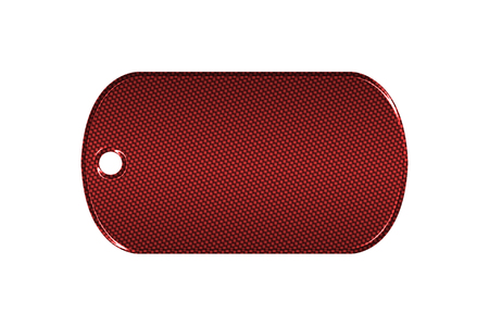 dog tag: red carbon fiber dog tag on isolated white background. 3d illustration. Stock Photo
