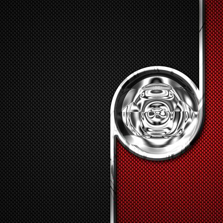 chromium: red, black carbon fiber and circle chromium frame. metal background. material design. 3d illustration. Stock Photo