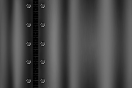 chrome metal background with rivet on gray metallic mesh. background and texture 3d illustration. Banque d'images