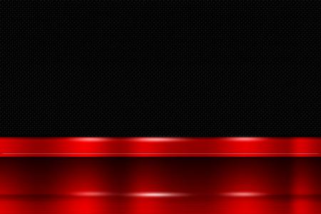 red metal: red metal banner on black carbon fiber. metal background. 3d illustration.