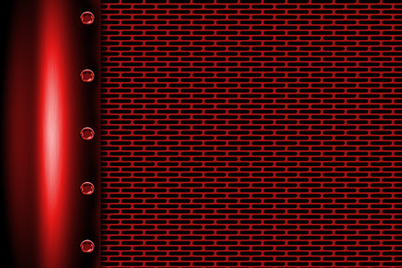 steel grille: red metal background with rivet on gray metallic mesh. background and texture 3d illustration. Stock Photo