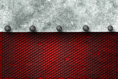 metal plate: grunge metal background. metal plate on black grille and red plate with rivet. material design 3d illustration. Stock Photo