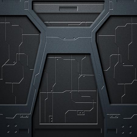 サイファイの壁。炭素繊維壁や回路。金属背景やテクスチャの 3 d 図です。技術コンセプト。