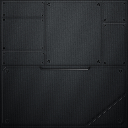 metal wall: scifi wall. metal wall and black carbon fiber. metal background and texture 3d illustration. technology concept.