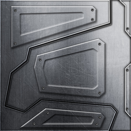 scifi wall. metal background and texture 3d illustration. technology concept. Banque d'images