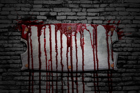 bloodstains: set 8. bloody signboard on brick wall  in the dark for horror content and halloween festival. 3d illustration.