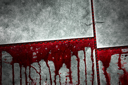 bloodstains: set 8. bloody metal wall for horror content and halloween festival. 3d illustration. Stock Photo