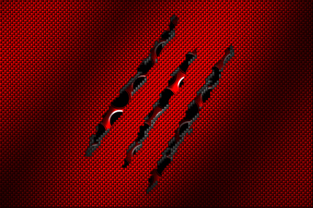 white and red carbon fiber tear on the red metallic mesh. background and texture. 3d illustration.