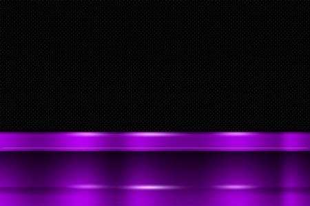 purple metal: purple metal banner on black carbon fiber. metal background. 3d illustration. Stock Photo