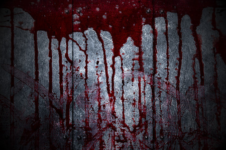 bloodstains: set 8. bloody metal wall  in the dark for horror content and halloween festival. 3d illustration. Stock Photo