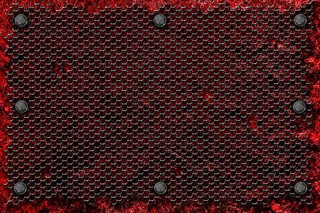 red metal: grunge metal background. rivet on red metal plate and black grille. material design 3d illustration.