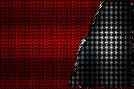 white and red carbon fiber tear on the black metallic mesh. background and texture. 3d illustration. Stock Photo