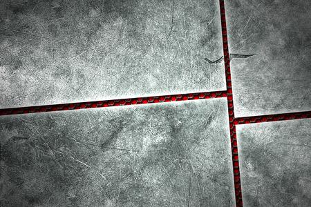 metal black: grunge metal background. metal plate on black grille and red plate. material design 3d illustration.