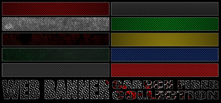full size: set 8. full web banner carbon fiber collection. standard size for full banner or leaderboard. 3d illustration with real texture. Stock Photo