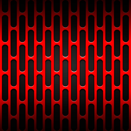 steel grille: set 8. red carbon fiber mesh on black metal plate. background and texture. 3d illustration. Stock Photo